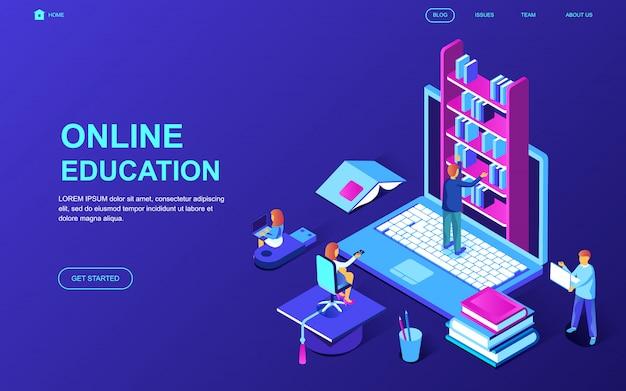 Concetto isometrico moderno design piatto di formazione online Vettore Premium
