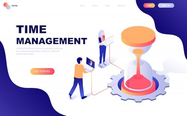 Concetto isometrico moderno design piatto di gestione del tempo Vettore Premium