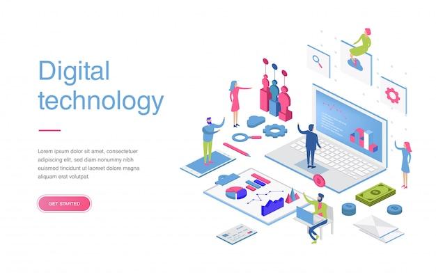Concetto isometrico moderno design piatto di marketing digitale per banner e sito web. modello di pagina di destinazione isometrica. analisi aziendale, strategia e gestione dei contenuti Vettore Premium