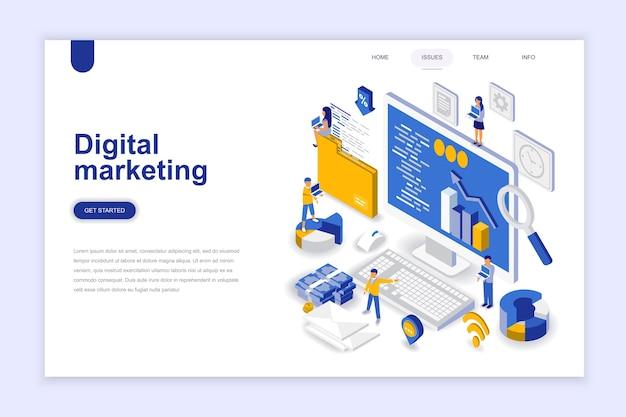 Concetto isometrico moderno design piatto di marketing digitale. Vettore Premium