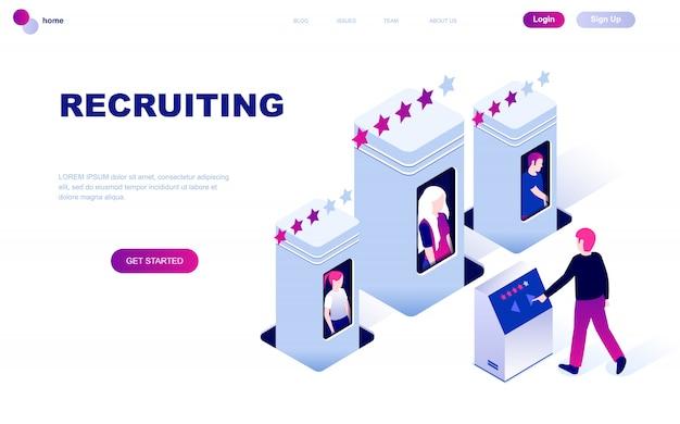 Concetto isometrico moderno design piatto di reclutamento Vettore Premium