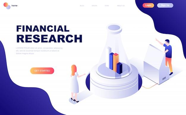 Concetto isometrico moderno design piatto di ricerca finanziaria Vettore Premium