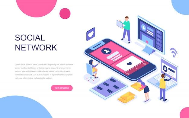 Concetto isometrico moderno design piatto di social network Vettore Premium