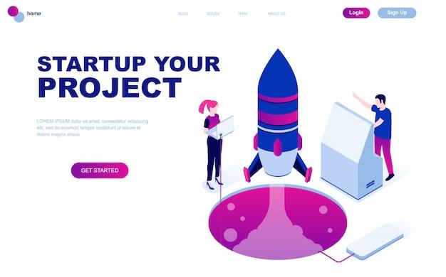 Concetto isometrico moderno design piatto di startup your project Vettore Premium
