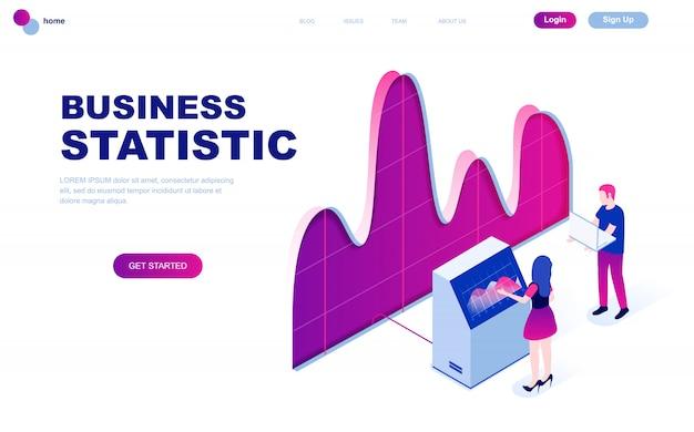 Concetto isometrico moderno design piatto di statistica aziendale Vettore Premium