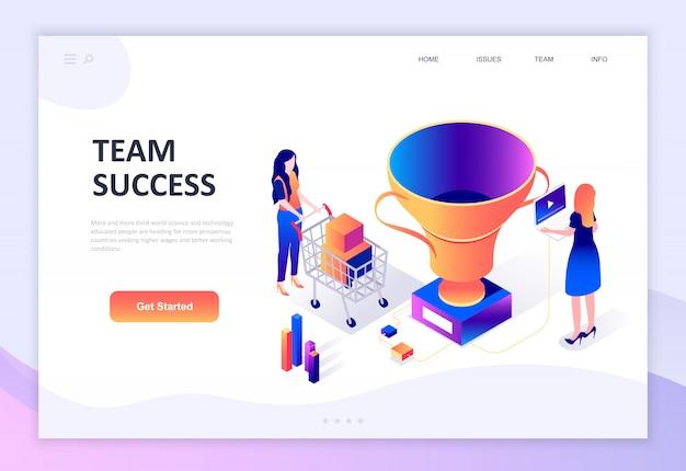 Concetto isometrico moderno design piatto di successo di squadra Vettore Premium