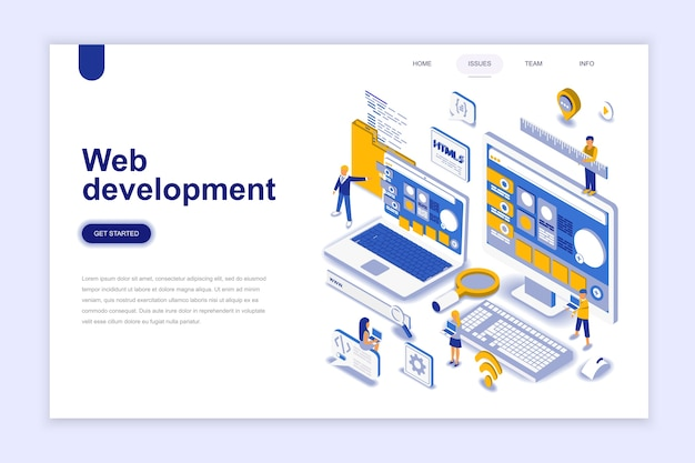 Concetto isometrico moderno design piatto di sviluppo web. Vettore Premium