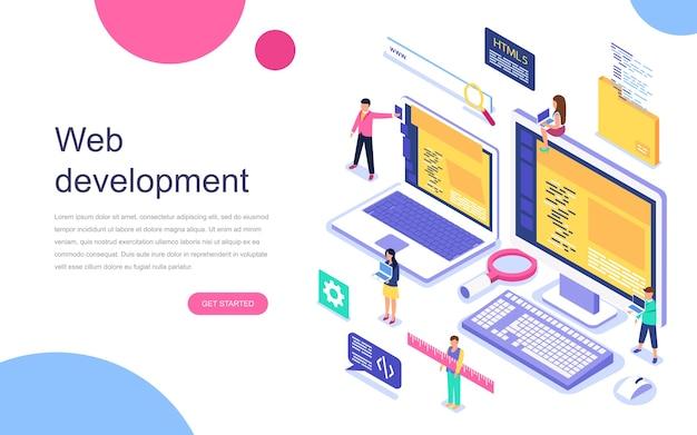 Concetto isometrico moderno design piatto di sviluppo web Vettore Premium