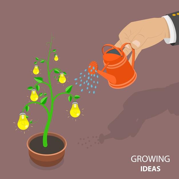 Concetto isometrico piano di idee in crescita. Vettore Premium