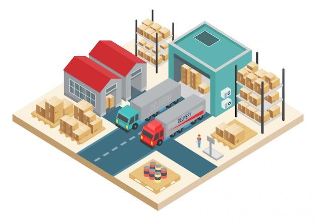Concetto logistico di trasporto isometrico. servizio di distribuzione concept. società di stoccaggio e distribuzione del magazzino. Vettore Premium