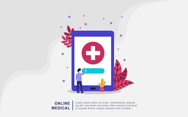 Concetto medico online. concetto online dell'illustrazione di vettore della medicina, medico ed infermiere che prendono cura del paziente. concetto di assistenza sanitaria. farmacia online. diagnosi medica in ospedale. dottore online Vettore Premium