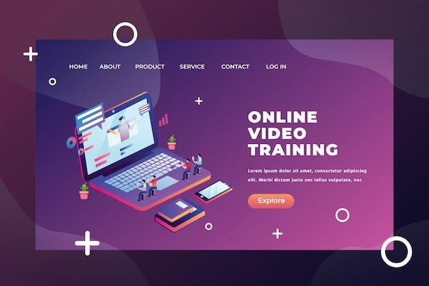 Concetto minuscolo della gente che studia dalla pagina di atterraggio di video formazione online Vettore Premium