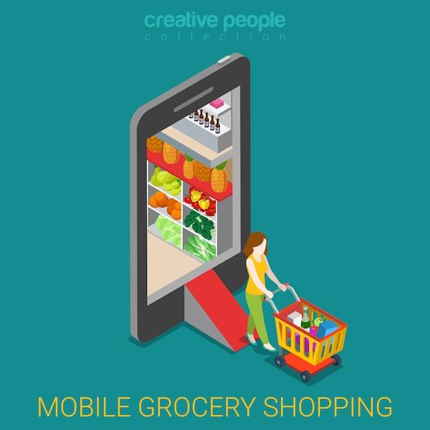 Concetto mobile del negozio di acquisto di drogheria online. la donna con il carrello lascia il deposito dentro lo smartphone isometrico. Vettore gratuito
