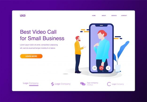 Concetto mobile dell'illustrazione di videoconferenza per il sito web o la pagina di atterraggio Vettore Premium