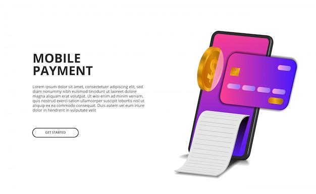 Concetto mobile di pagamento di prospettiva 3d con l'illustrazione della carta di credito, della moneta dorata e della fattura. Vettore Premium