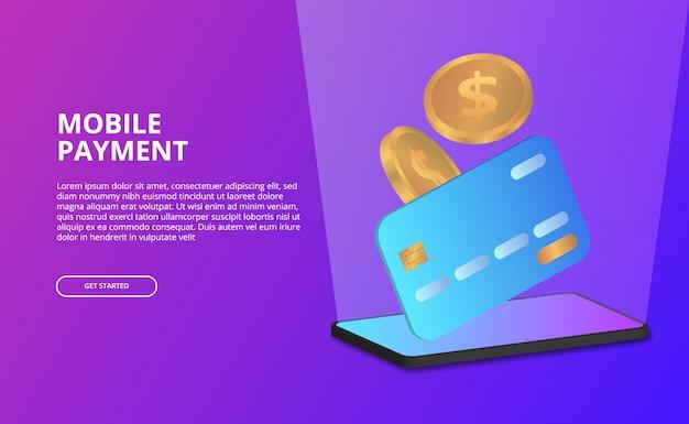 Concetto mobile di pagamento di prospettiva 3d con l'illustrazione della carta di credito, moneta dorata. Vettore Premium