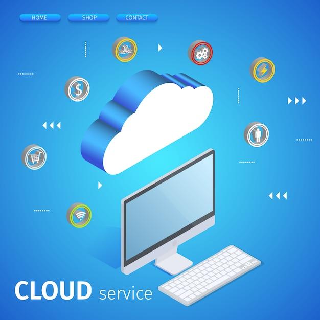 Concetto moderno della tecnologia e della rete della nuvola. Vettore Premium