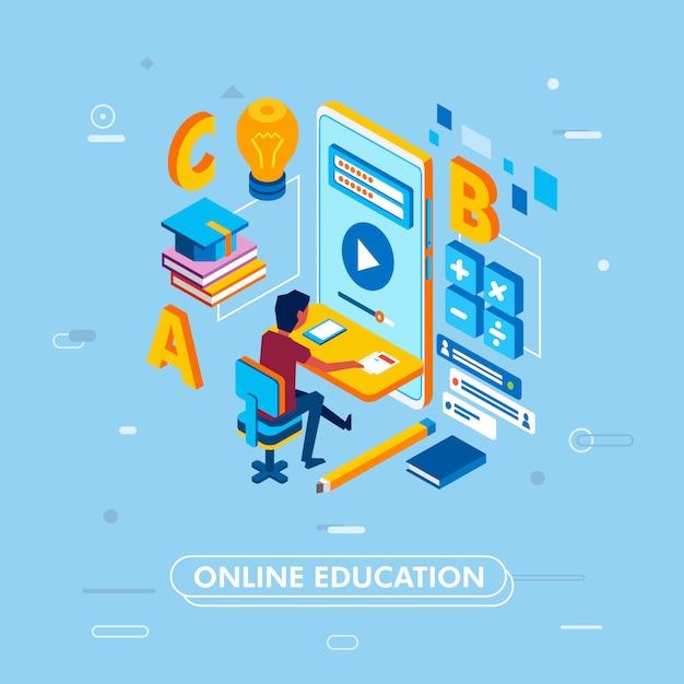 Concetto moderno di educazione online Vettore Premium