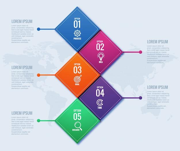 Concetto moderno di infographics di affari con quattro punti Vettore gratuito