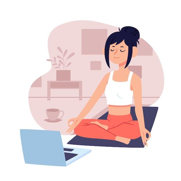Concetto online della classe di yoga con il computer portatile e la donna Vettore gratuito