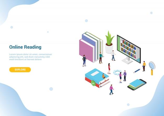 Concetto online della lettura isometrica 3d con i libri o i libri elettronici per il modello del sito web o la homepage di atterraggio Vettore Premium