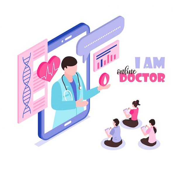 Concetto online della medicina con medico consultantesi 3d isometrico della gente Vettore gratuito