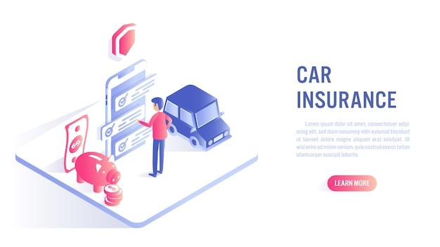 Concetto online di assicurazione auto. invito all'azione o modello di banner web Vettore Premium