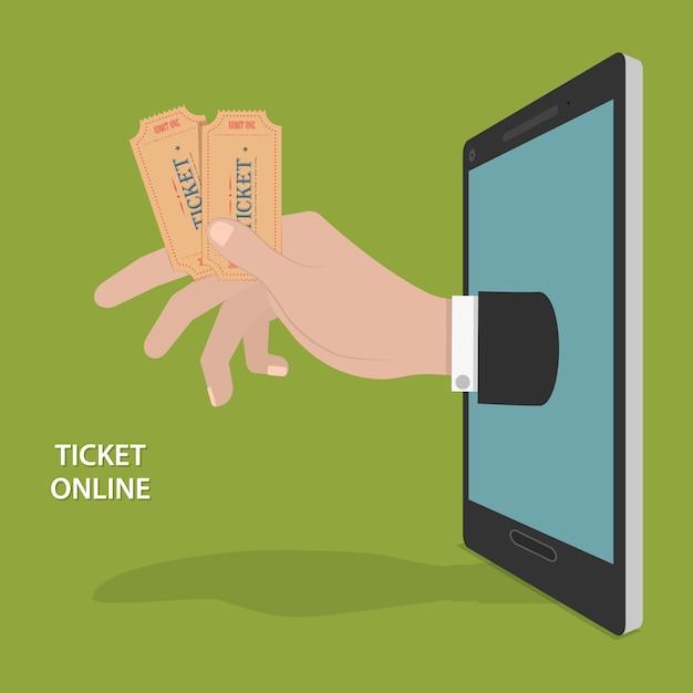 Concetto online di vettore di ordine del biglietto. Vettore Premium