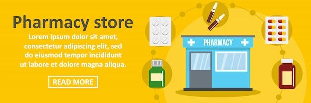 Concetto orizzontale del modello dell'insegna del deposito della farmacia Vettore Premium
