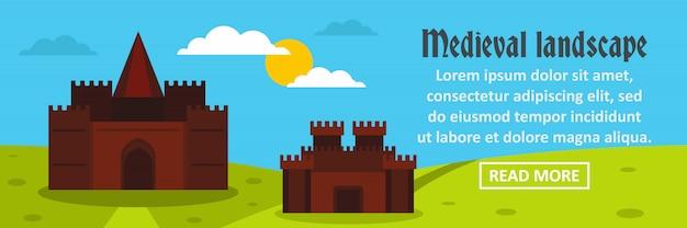 Concetto orizzontale del modello dell'insegna del paesaggio medievale del castello Vettore Premium
