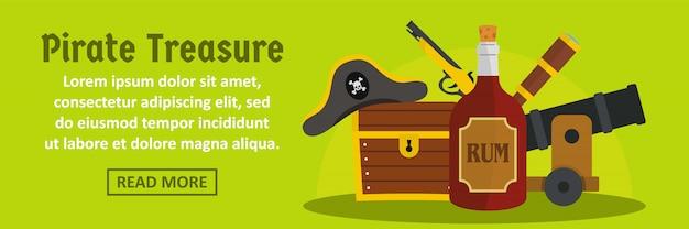 Concetto orizzontale del modello dell'insegna del tesoro del pirata Vettore Premium
