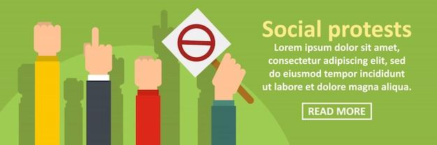 Concetto orizzontale del modello dell'insegna delle proteste sociali Vettore Premium