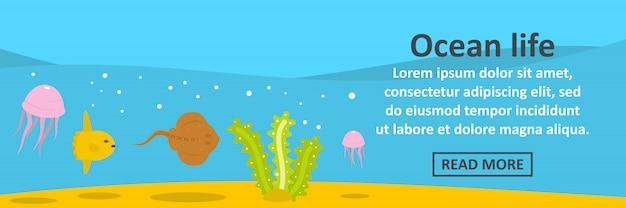 Concetto orizzontale del modello dell'insegna di vita dell'oceano Vettore Premium