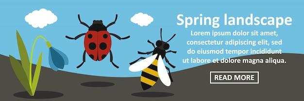 Concetto orizzontale dell'insegna del paesaggio della primavera Vettore Premium