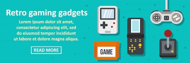 Concetto orizzontale dell'insegna retro dei dispositivi di gioco Vettore Premium