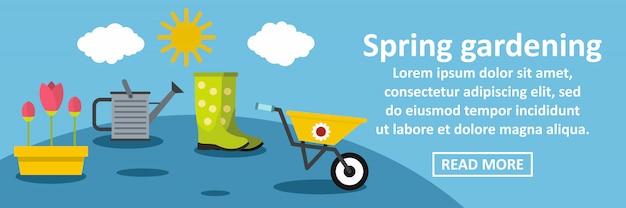 Concetto orizzontale di giardinaggio dell'insegna della primavera Vettore Premium