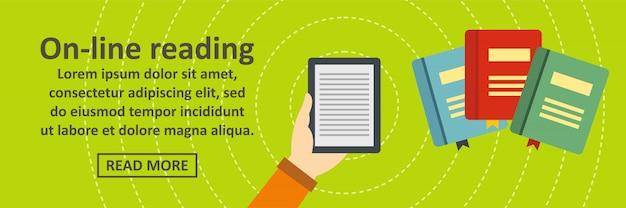 Concetto orizzontale online del modello dell'insegna della lettura Vettore Premium