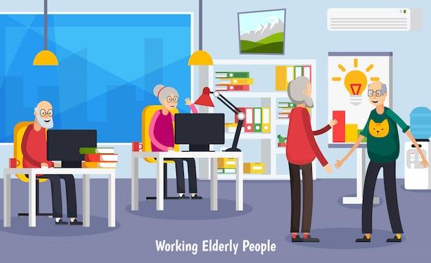 Concetto ortogonale degli anziani invecchiato Vettore gratuito