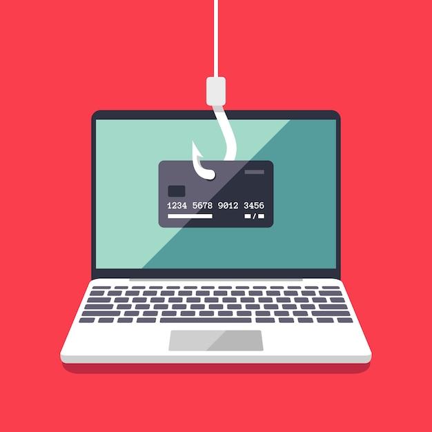 Concetto piano di vettore di attacco di hacking e di phishing di internet. email spoofing e sfondo di sicurezza delle informazioni personali. illustrazione dell'attacco internet sulla carta di credito Vettore Premium