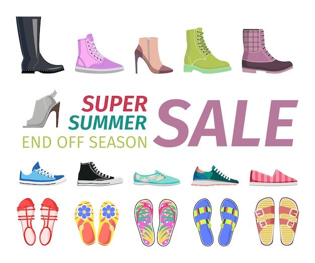 Concetto piano di vettore di vendita delle scarpe di estate di cena Vettore Premium