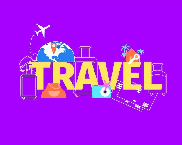 Concetto piano di vettore di volo di viaggio di vacanze estive Vettore gratuito
