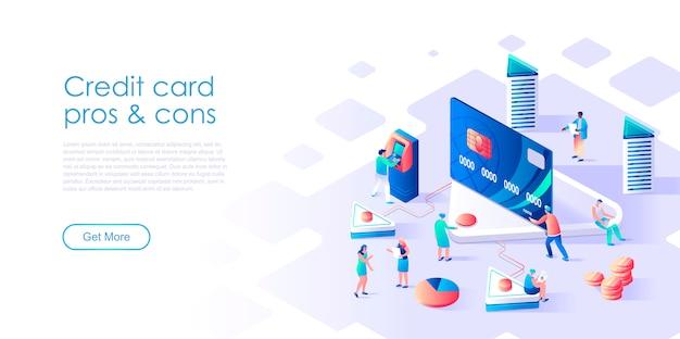 Concetto piano isometrico bancomat o carta di credito Vettore Premium
