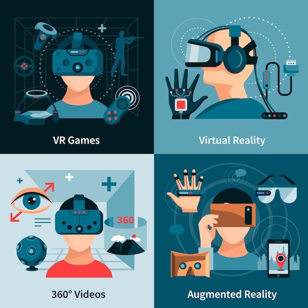 Concetto piatto di realtà virtuale Vettore gratuito