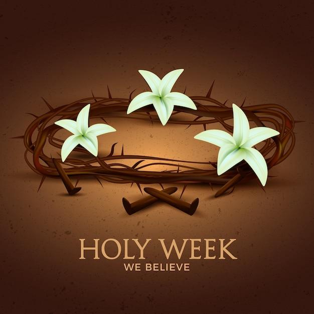 Concetto realistico della settimana santa Vettore gratuito