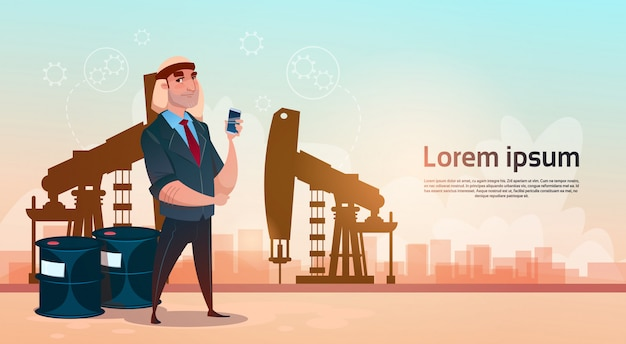 Concetto ricco di ricchezza del nero della piattaforma dell'impianto di perforazione di pumpjack di commercio dell'olio dell'uomo di affari Vettore Premium