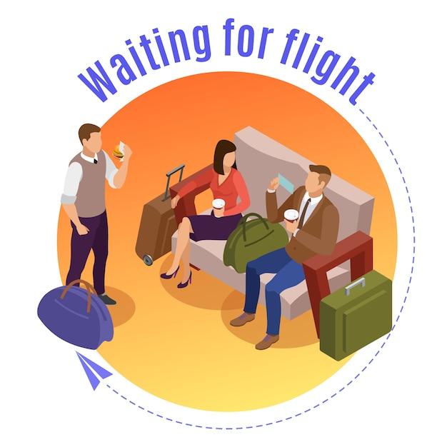Concetto rotondo della gente di viaggio con i passeggeri che aspettano volo nel salotto dell'aeroporto isometrico Vettore gratuito