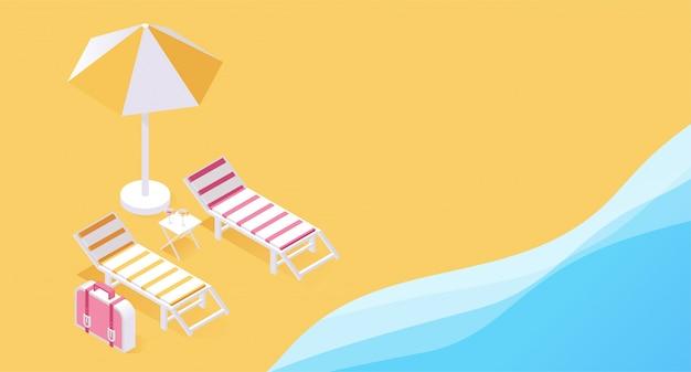 Concetto tropicale del ricorso 3d di vacanza di estate. due sdraio sulla spiaggia, le sabbie oceaniche Vettore Premium