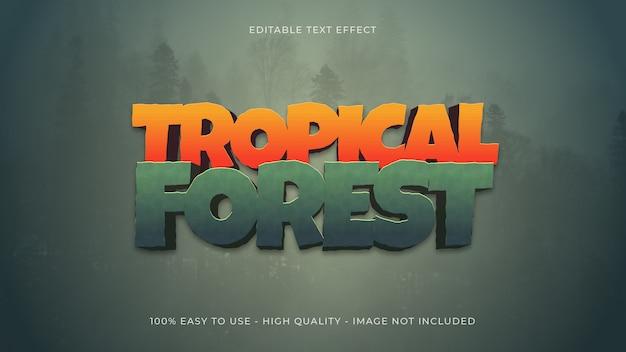 Concetto tropicale di effetto del testo della foresta Vettore Premium