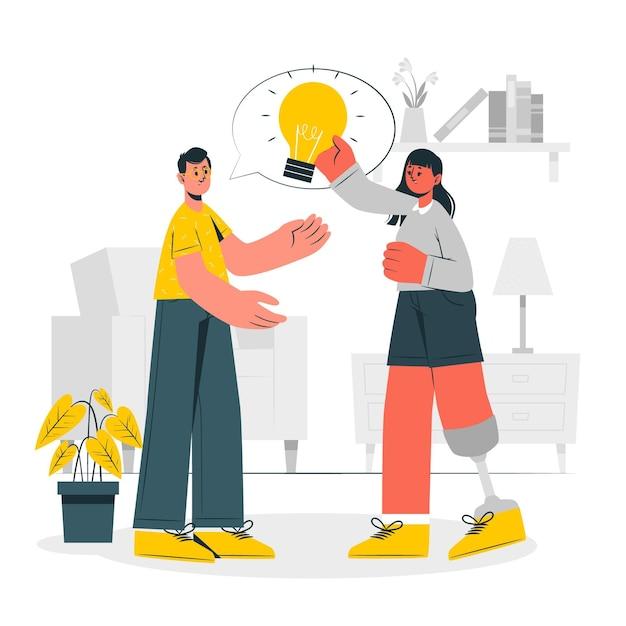 Condivisione dell'illustrazione di concetto di idee Vettore gratuito