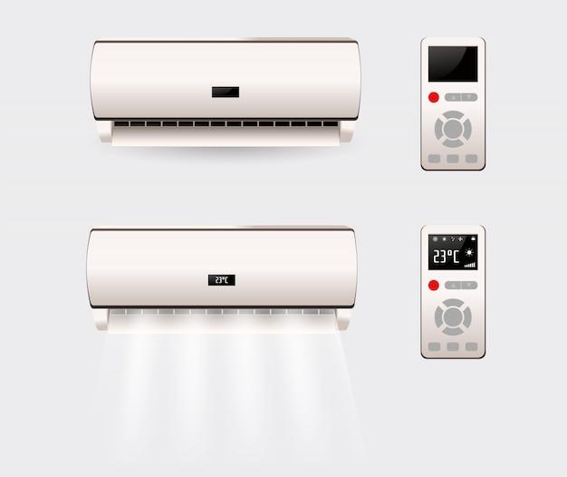 Condizionatore d'aria con aria fresca isolata. illustrazione Vettore Premium